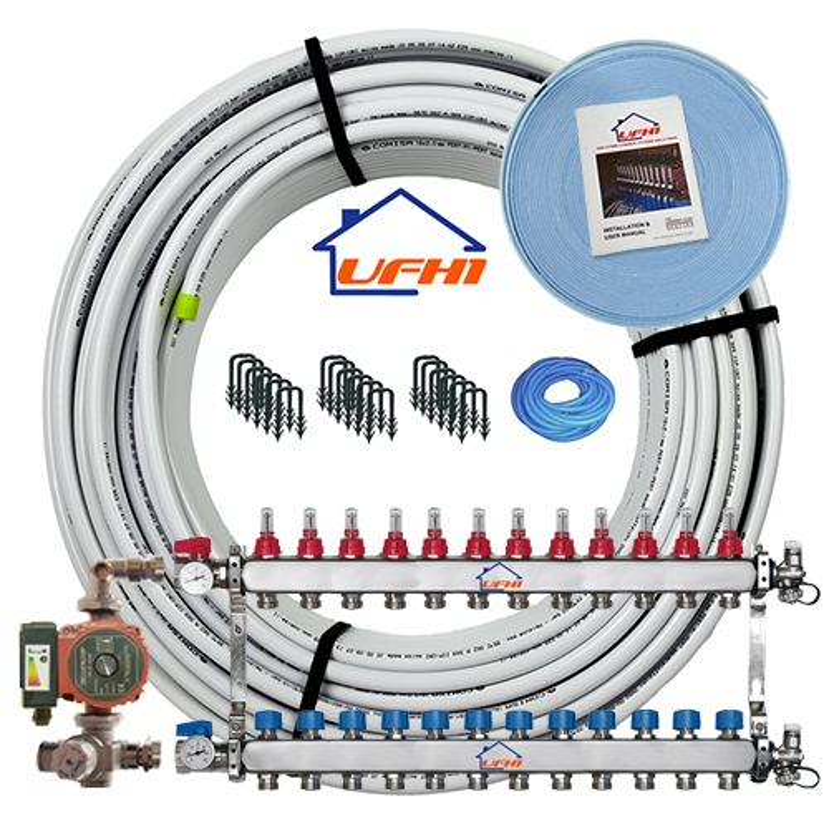 Premium Underfloor Heating Kit - 12 Port, 1200m Kit (up to 240m²)