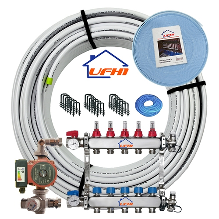 Premium Underfloor Heating Kit - 5 Port, 500m Kit (up to 100m²)