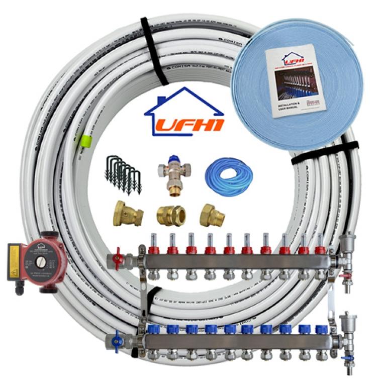 Standard Underfloor Heating Kit - 10 Port, 1000m Kit (up to 200m²)