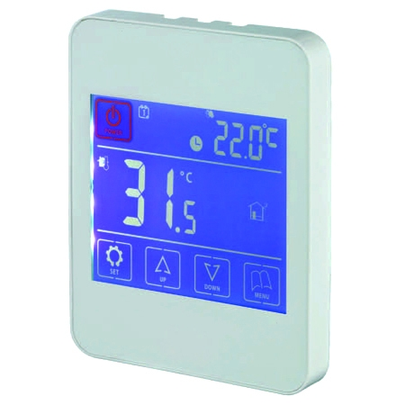 White iPod Style 7 day Touch Screen Thermostat